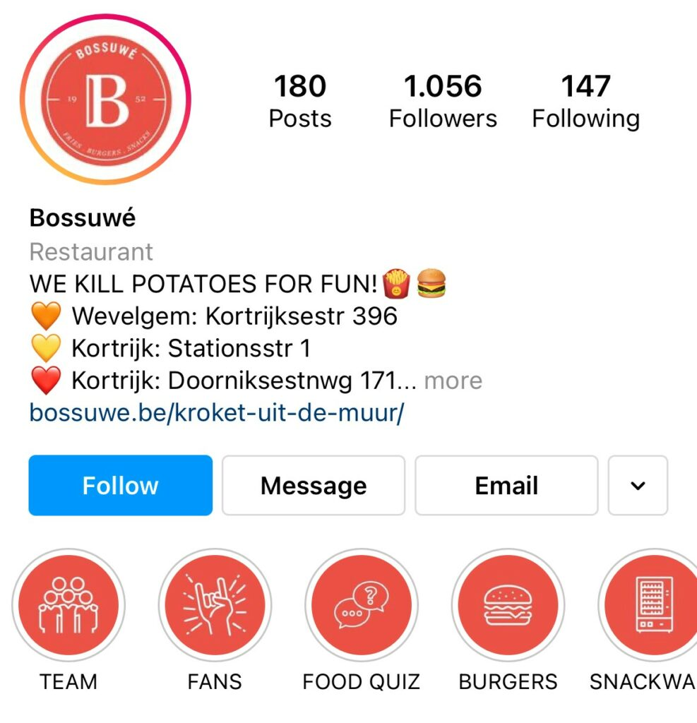 Onze klant Bossuwé uit Kortrijk is een goed voorbeeld van een levendige instagrampagina.